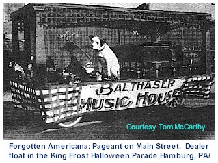 Phonograph dealer float in parade
