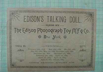 Edison talking doll, original label