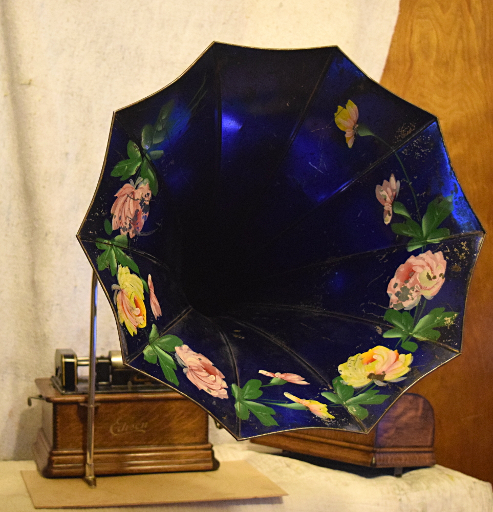 Edison Standard Phonograph with blue morning glory horn