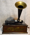 an image of Edison Home Phonograph with Banner Decal - Restored