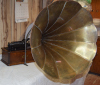 an image of Edison Home Phonograph with brass morning glory horn