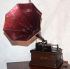 an image of Edison Fireside Phonograph with red baby morning glory horn