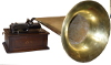 an image of Edison Triumph Phonograph with large all brass horn and floor crane